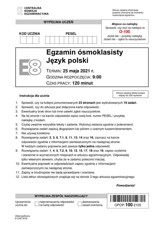 EGZAMIN ósmoklasisty 2021 polski ARKUSZ + ODPOWIEDZI