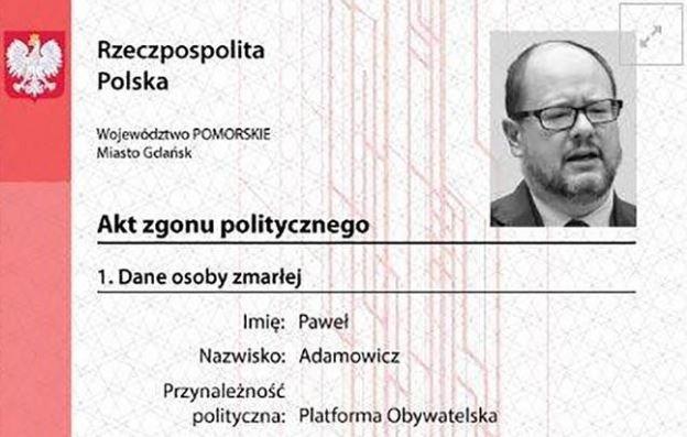 Takie akty zgonu członkowie Młodzieży Wszechpolskiej wystawili 11 samorządowcom
