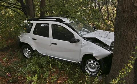 Auto zaklinowało się miedzy drzewami