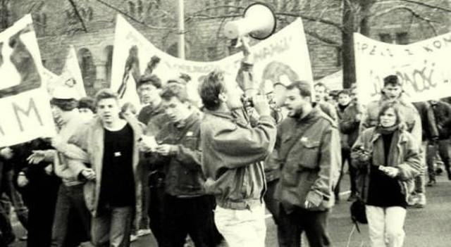 Manifestacja NZS w Poznaniu, lata 80.