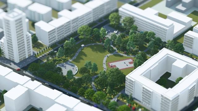 Widok na nowy park miejski o powierzchni 12 tysięcy metrów kwadratowych - wizualizacja.