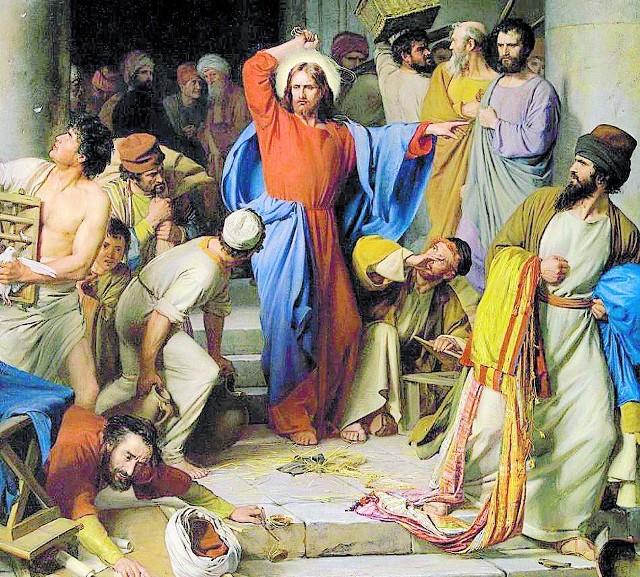 """""""Wypędzenie kupców ze świątyni"""", Carl Heinrich Bloch, 1885r."""