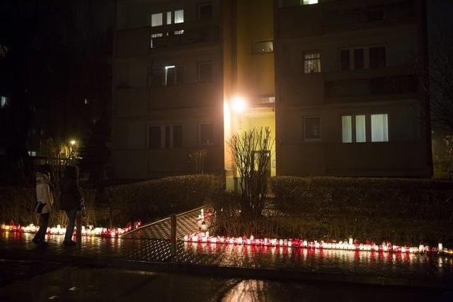 Miejsce zbrodni przy ul. Teligi, gdzie zginął Miłosz B. sympatyk Cracovii