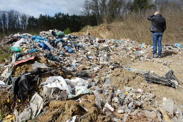 Śmieci w dawnej kopalni żwiru w Górzykowie