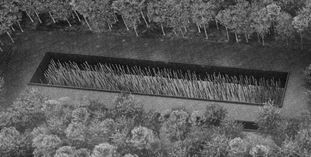 Stojące w dole z wodą betonowe słupy symbolizują 592 ofiary obławy