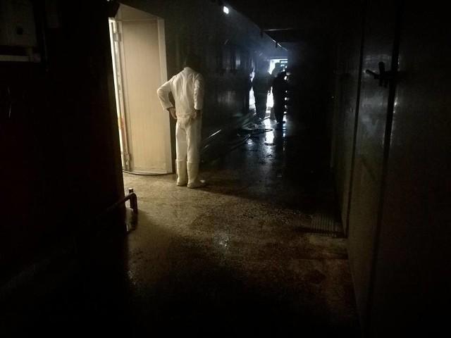 """Do pożaru w Zakładzie Mięsnym """"Podlasie"""" w Mońkach doszło w czwartek około godz. 13.30. Po przybyciu na miejsce strażaków okazało się, że palą się wędzarnie. Zdjęcia dzięki uprzejmości OSP Knyszyn."""