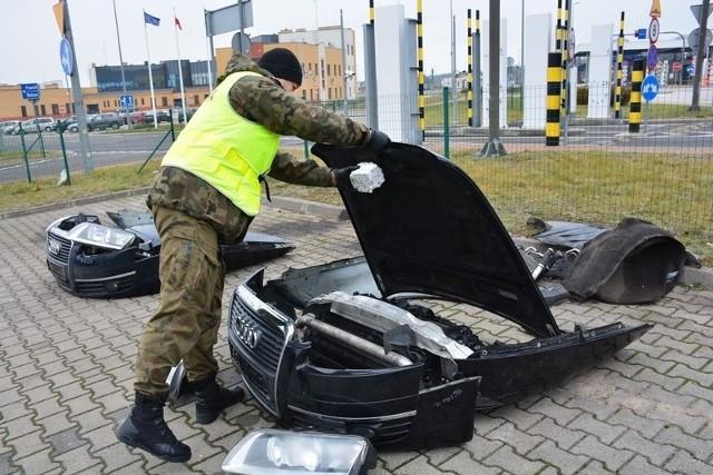 Kuźnica. Pogranicznicy zatrzymali Białorusinów, którzy chcieli wywieźć kradzione części z Audi A6