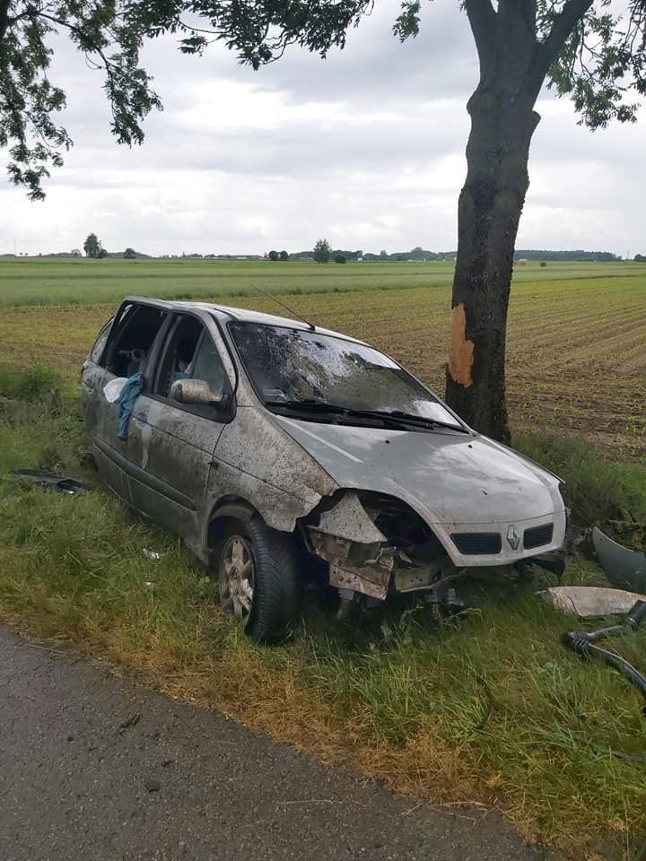Jatwieź Duża. Renault uderzyło w drzewo. Trzeba było wycinać...