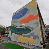 Mural prezentem na Dzień Dziecka w poznańskim przedszkolu. Przedstawia m.in. zeppeliny nawiązujące do historii osiedla