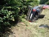 Wypadek w Anusinie. Auto osobowe wylądowało w rowie