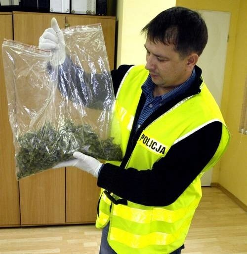 Technik kryminalistyczny Mariusz Jastrzębski prezentuje ,,woreczek'' z marihuaną znaleziony w golfie.