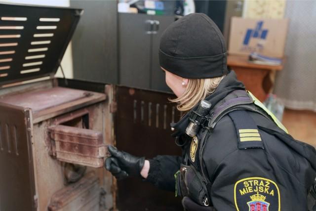 Strażnicy miejscy sprawdzają, czy w Krakowie przestrzegany jest zakaz palenia węglem