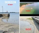 Dramatyczna sytuacja w Skorzęcinie. Znika jezioro! Wody nie ma nawet na końcu molo. Zobacz zdjęcia!