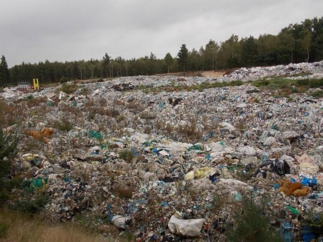 Hałdy śmieci zalegają w potężnym dole już od dawna. Nic nie wskazuje, by były na bieżąco przerabiane.
