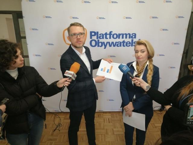 Posłowie Michał Krawczyk i Marta Wcisło na czwartkowej konferencji prasowej