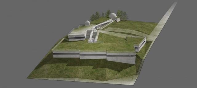 Wizualizacja: nowe obiekty obserwatorium zaprojektowano z wykorzystaniem ukształtowania terenu