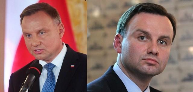 Andrzej Duda - prezydent PolskiPo lewej 2020 r. - po prawej 2010 r.