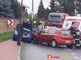 Wypadek w Trojanowicach. Zderzyły się dwa samochody