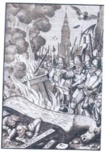 XIX-wieczny miedzioryt przedstawiający kaźń przywódców buntu strażników miejskich