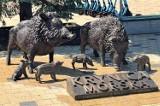 Stado przyjaznych dzików w Krynicy Morskiej. W centrum miasta pojawiła się nietypowa rzeźba