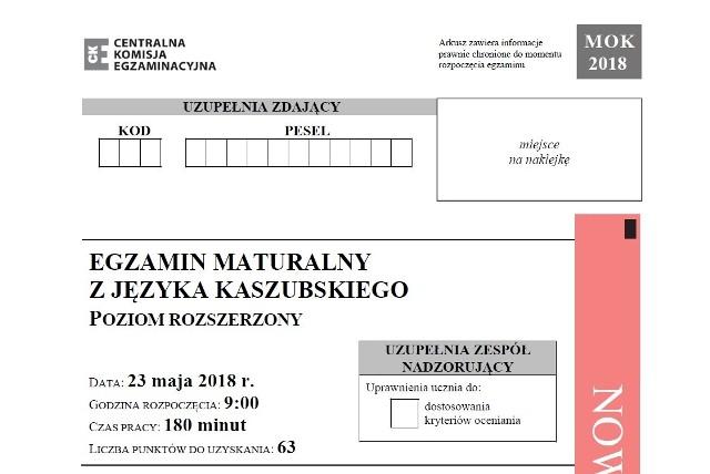 Matura 2018 język kaszubski, poziom rozszerzony- arkusze,  odpowiedzi