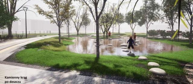 Kamienny Krąg ma uporządkować nadmiar wody w parku i służyć jego gościom jako miejsce zabawy i spotkań