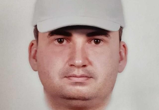 Portret pamięciowy oszusta, który wyłudził od mieszkanki Brzegu ponad 60 tys. zł.