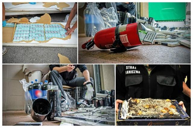 """Pomysłowość przemytników nie zna granic. Funkcjonariusze Straży Granicznej niemal każdego dnia zatrzymują osoby, które próbują przewieźć do Polski nielegalny towar. Papierosy schowane w butelkach po mleku, akumulatorze czy w cieście to tylko niektóre z przykładów ich """"kreatywności"""". Obejrzyj również: 62 kg haszyszu ukryte wśród brokułów i pomarańczy. Udana akcja wrocławskich celników źródło: TVN24/x-news"""