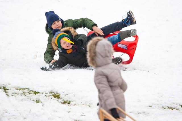W Kujawsko-Pomorskiem wpadł śnieg i dzieci od razu ruszyły na sanki. To było prawdziwe, śnieżne szaleństwo!