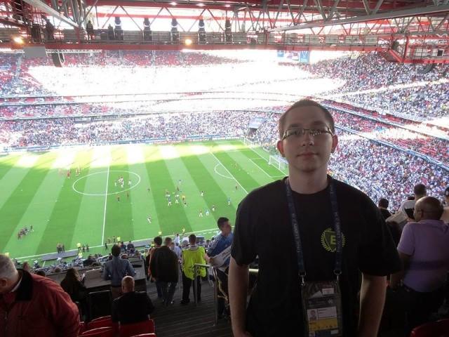 Dziennikarz serwisu, Jakub Seweryn na finale Ligi Mistrzów 2013/2014 w Lizbonie.