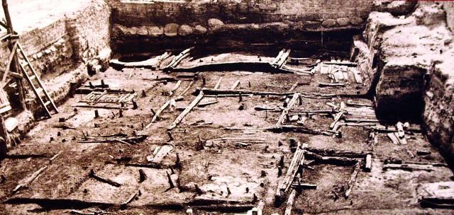 Wykopaliska na Podzamczu. Zabudowa z połowy XII w. Wystawa w Muzeum Historii Szczecina