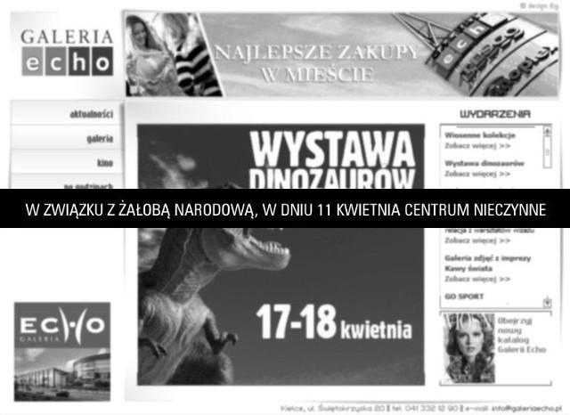 Galeria Echo w Kielcach poinformowała też na swojej stronie internetowej, że w niedzielę będzie nieczynna.