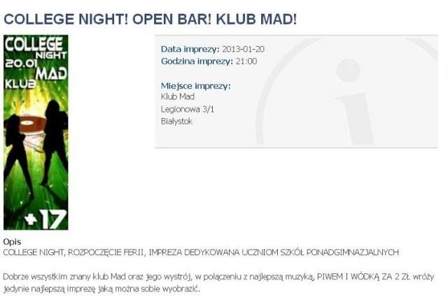 Zrzut ekranu z jednej ze stron promujących rozrywkę w Białymstoku