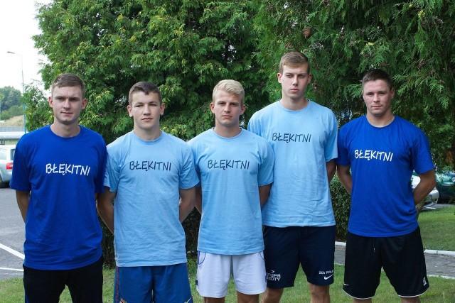 Piątka nowych piłkarzy Błękitnych Sebastian Murawski, Krzysztof Filipowicz, Ernest Graś, Oskar Fijałkowski i Patryk Baranowski.