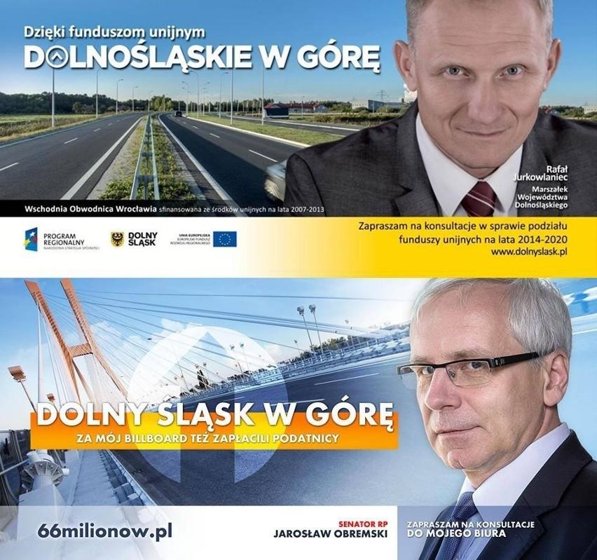 Wrocław: Wojna na billboardy we Wrocławiu. Marszałek Jurkowlaniec kontra Jarosław Obremski.