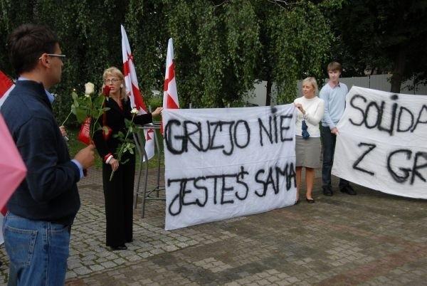 Manifestacja solidarności z Gruzją w Bialymstoku