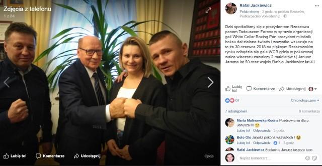Rafał Jackiewicz (z prawej), wraz z żoną, spotkał się w ratuszu z prezydentem Rzeszowa Tadeuszem Ferencem i Januszem Jaremą.
