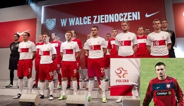 Reprezentacja Polski zaprezentowała kontrowersyjne stroje bez orzełka na koszulkach przed Euro 2012