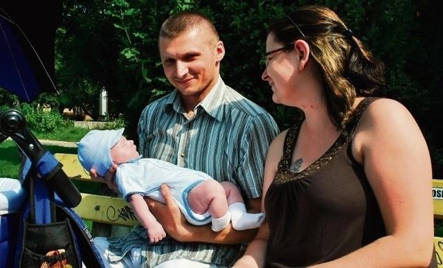Joanna Kołodziej z mężem i synem