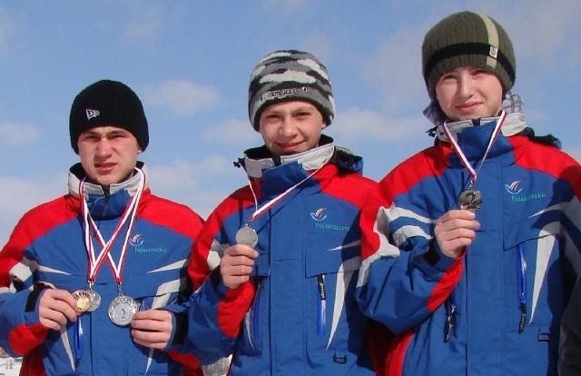 Nasi biathloniści pokazali klasę. Od lewej: Dawid Szwast, Dawid Zając i Rafał Penar.