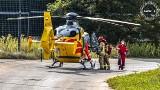 Zabrze: 38-latek spadł z drzewa przy ulicy Wiśniowej. Na miejscu lądował śmigłowiec Lotniczego Pogotowia Ratunkowego