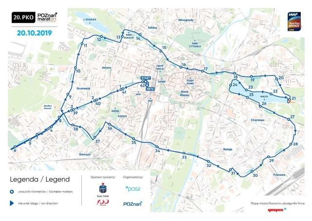 Trasa 20. PKO Poznań Maratonu została odwrócona i delikatnie zmieniona. Jej przebieg nie różni się jednak zasadniczo od tego z ostatnich lat
