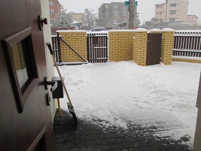 Posesja zimąDo tej pory styczeń był bardzo ciepły i pozbawiony opadów śniegu. Dzisiaj jednak zima nieśmiało zapukała do naszych drzwi.