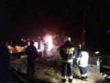 Na placu budowy w Janikowie spłonął toi-toi [zdjęcia]