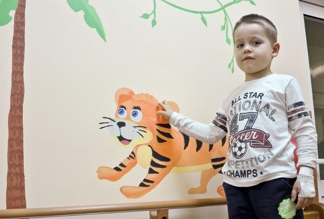 Pięcioletniemu Arturowi, małemu pacjentowi kliniki, podoba się tygrys na ścianie