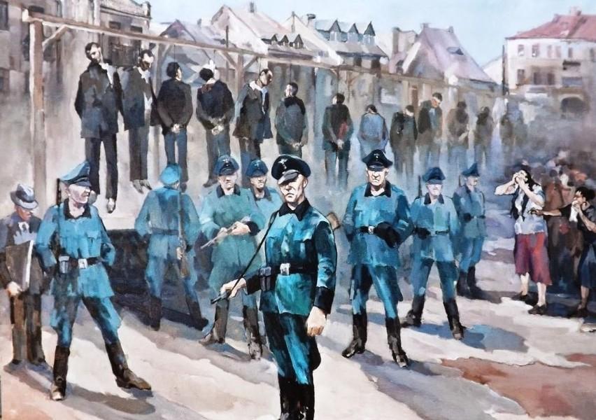 Chwile po egzekucji przedstawił na swoim obrazie artysta malarz Tadeusz Szypowski.