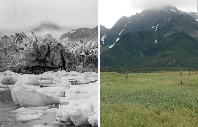Na zdjęciach udostępnionych przez NASA widać kurczącą się pokrywę śnieżną, topniejące lodowce i wysychające jeziora. Globalne ocieplenie to nie teoria - to fakt. Naukowcy już teraz mówią o trwającym obecnie wielkim wymieraniu. Przejdź dalej, by zobaczyć kolejne zdjęcia. Użyj suwaka, by je porównać.