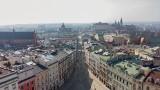 Kraków. Poranne, pandemiczne pustki. Miasto duchów z lotu ptaka