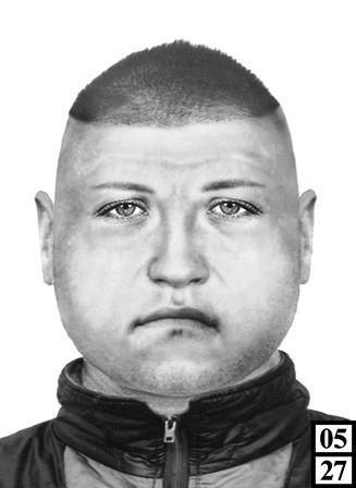 Rysopis: mężczyzna w wieku około 33 lat, 174 cm wzrostu, sylwetka krępa, twarz okrągła, włosy proste jasne.