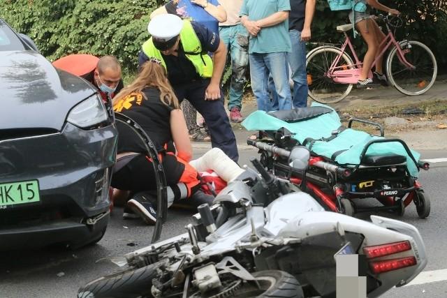 Groźny wypadek motocyklisty na Sępolnie